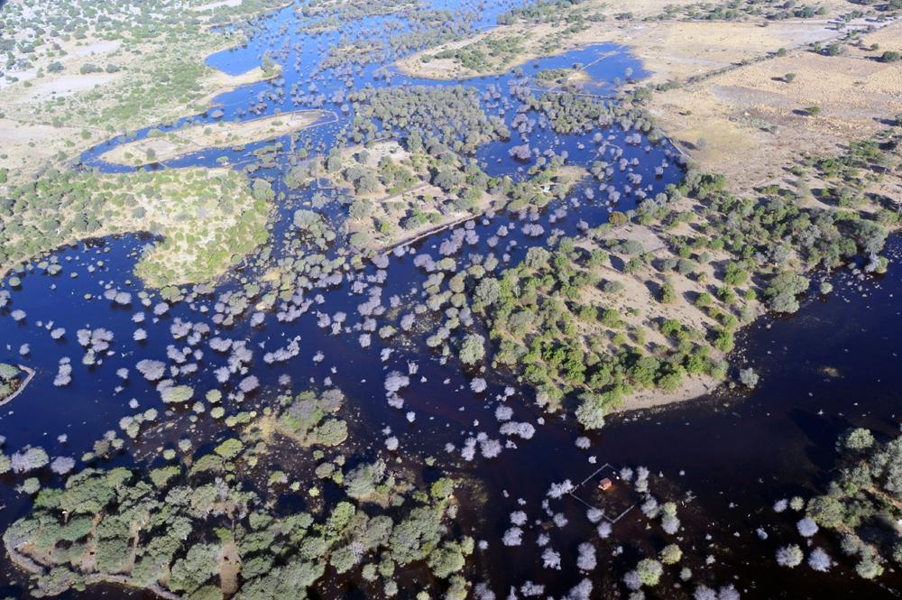 A photograph taken from a hot air balloon over the Okavango Delta