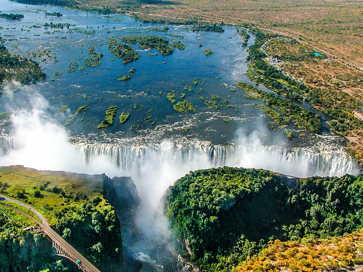 view of Victoria Falls from helicopter