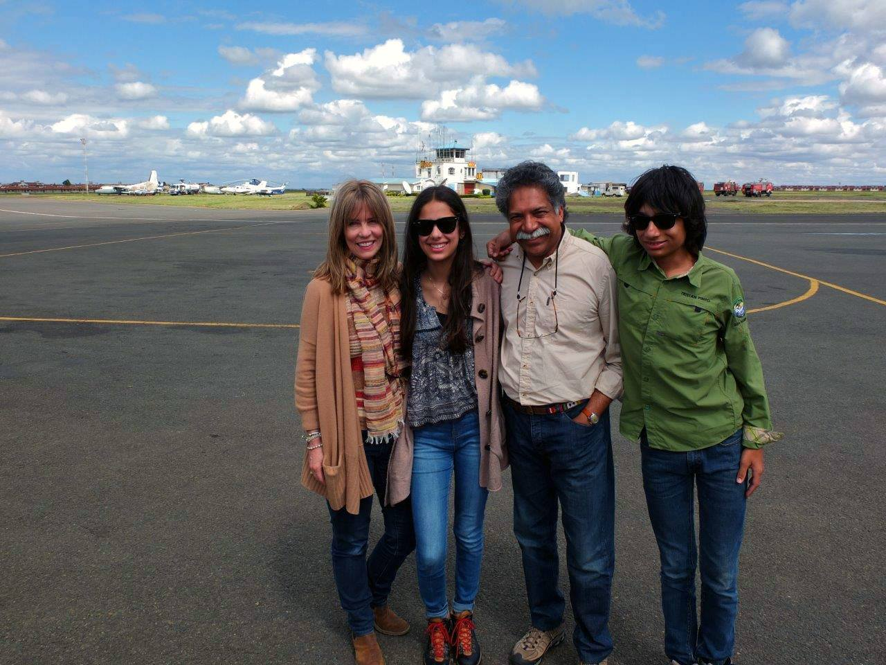 Pinto family on an airstrip