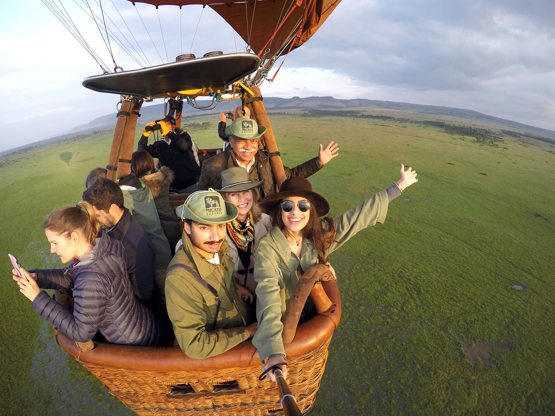 The Pintos on a hot air balloon