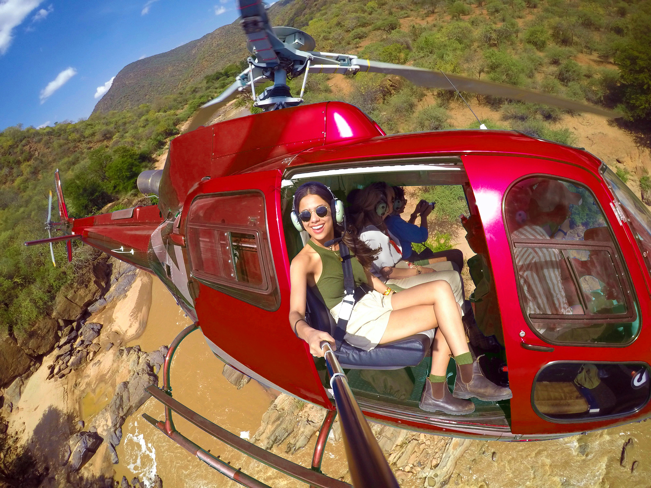 The Pintos take a selfie from a helicopter