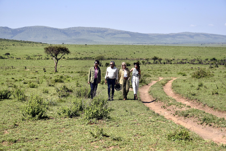 The Pintos walk through a field next to a dirt path