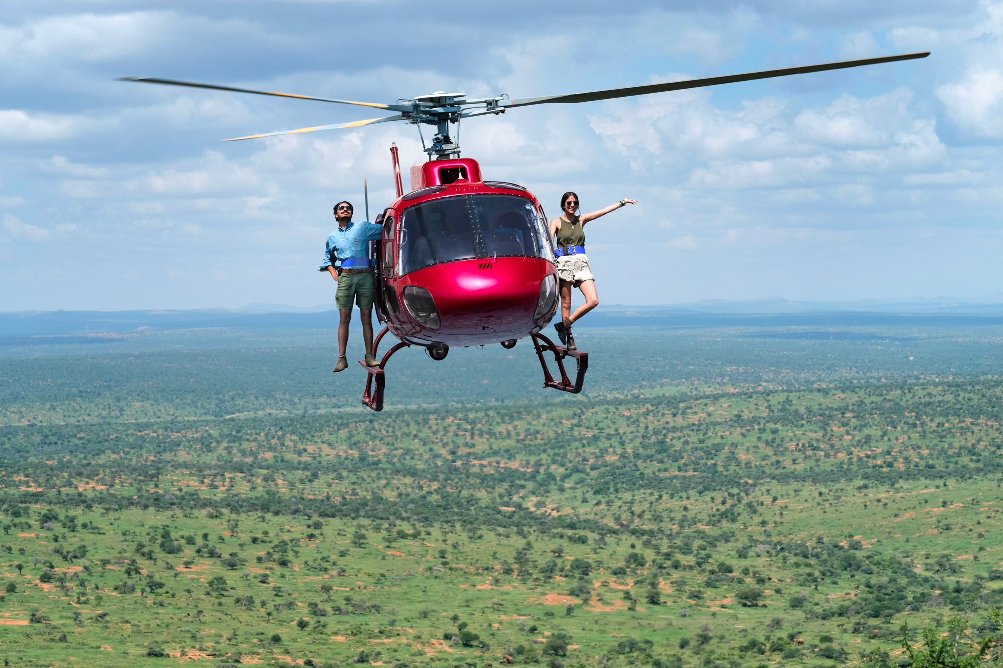 The Pintos on a flying helicopter