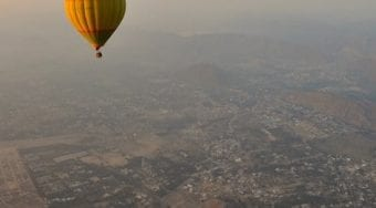 hot air balloon over jaipur, india