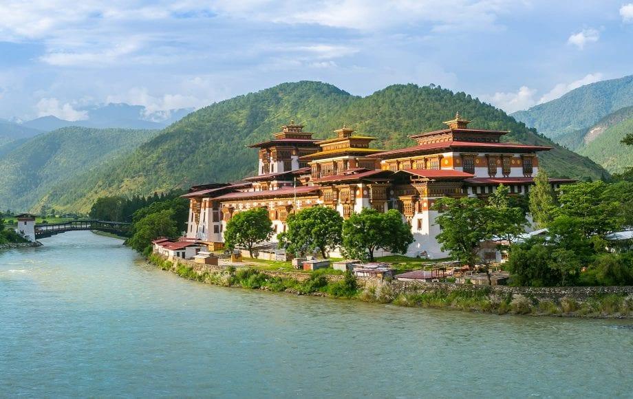 Clean lake and peaceful scenery in Bhutan