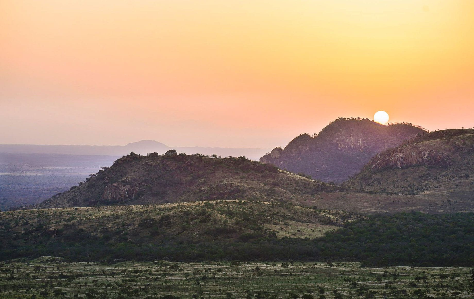 Colorful sky and calm afternoon at the Chyulu Hills in Africa