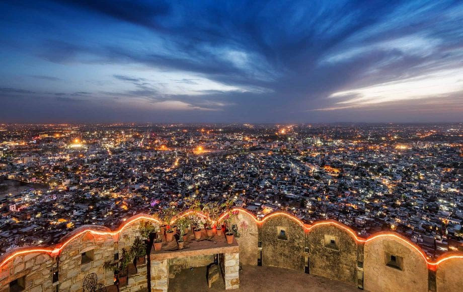 Jaipur night view from the top