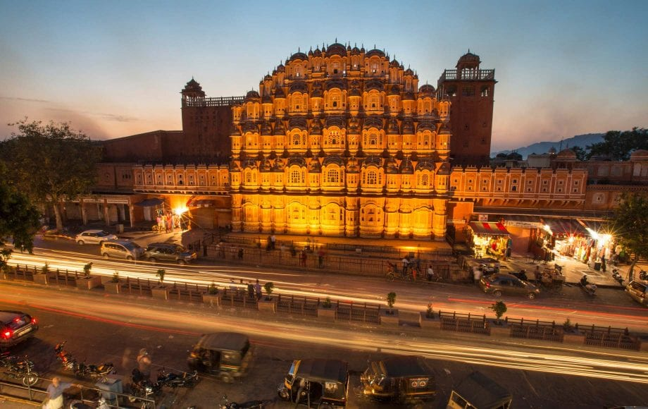 Jaipur Night Sky and Building with Shops