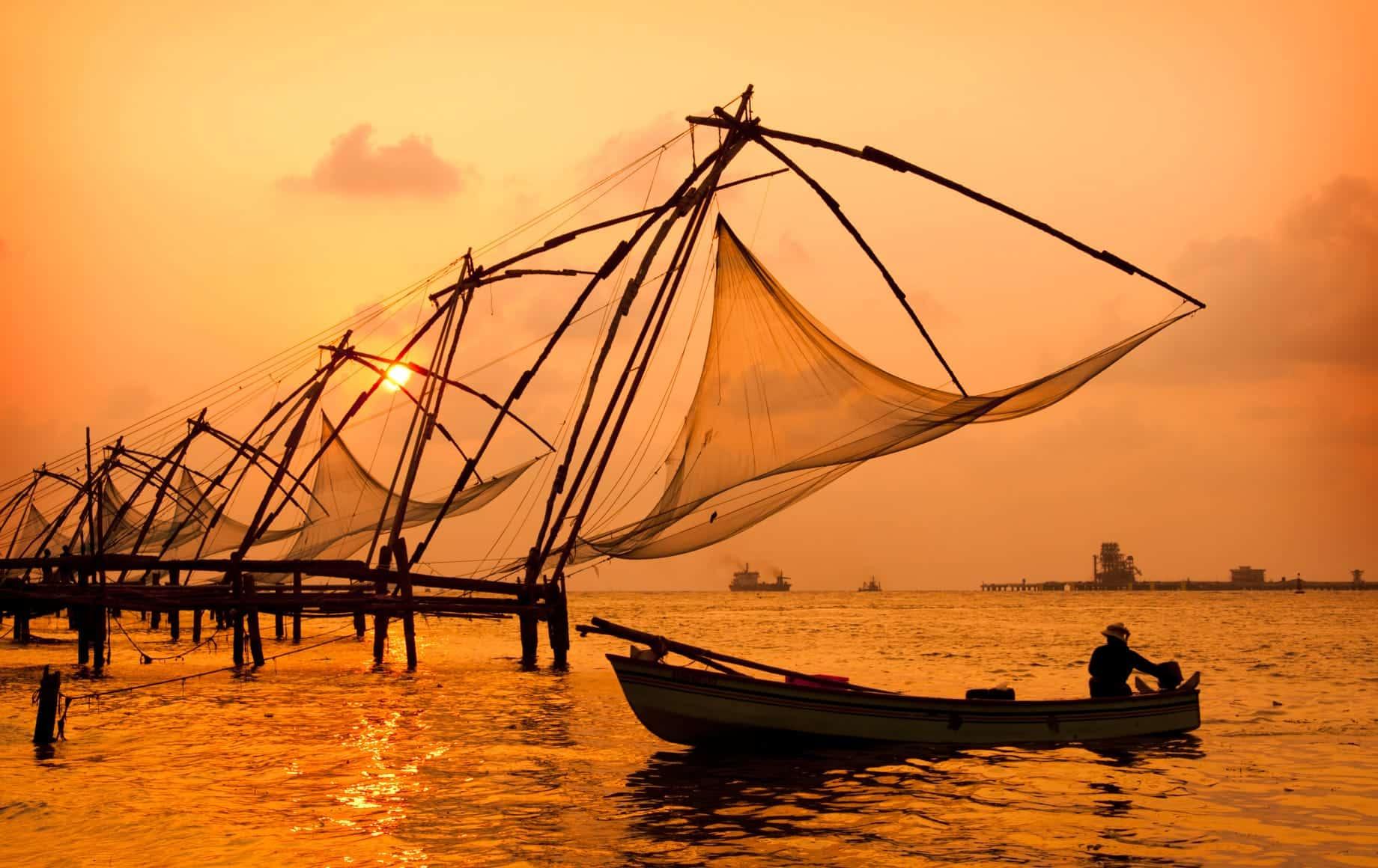 Fisherman Sunset In Kerala-india