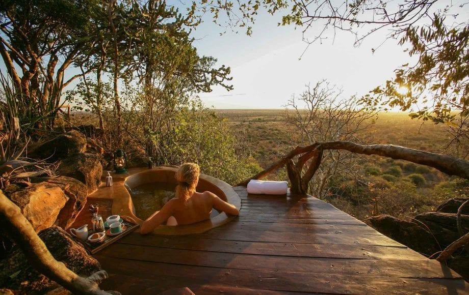 Enjoying sunset while taking bath, Meru National Park, Kenya