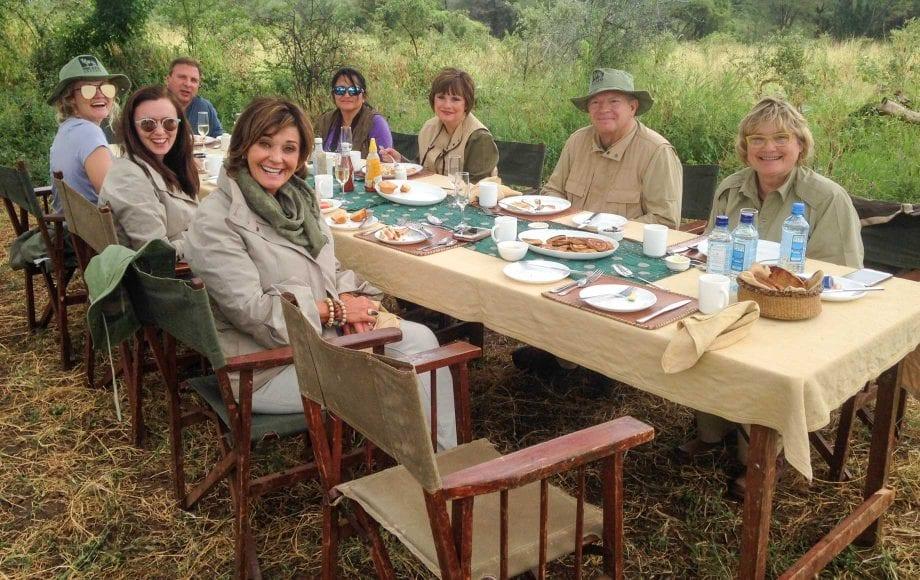 Friends and family dinner at Meru National Park, Kenya