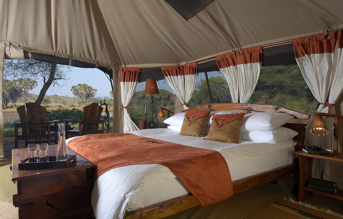 A bedroom at the Elephant Bedroom Camp.