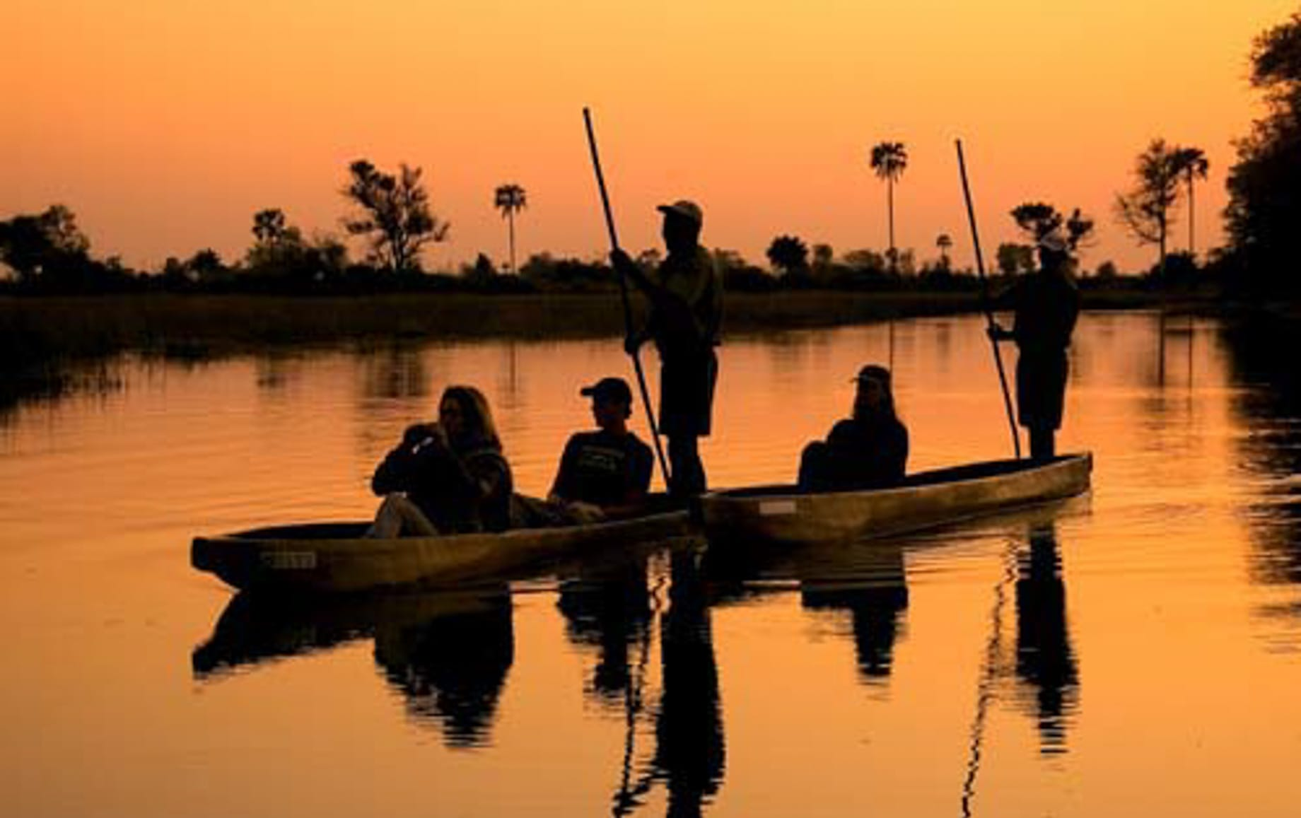 Mokoro boat experience during sunset