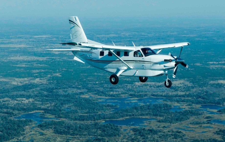 Airplane flying over Savuti Chobe