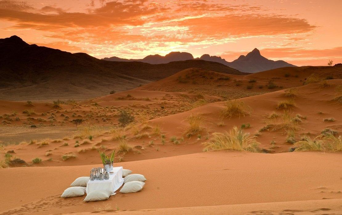 Looking out to beautiful desert scenery during dinner at Sossusvlei Namib Desert
