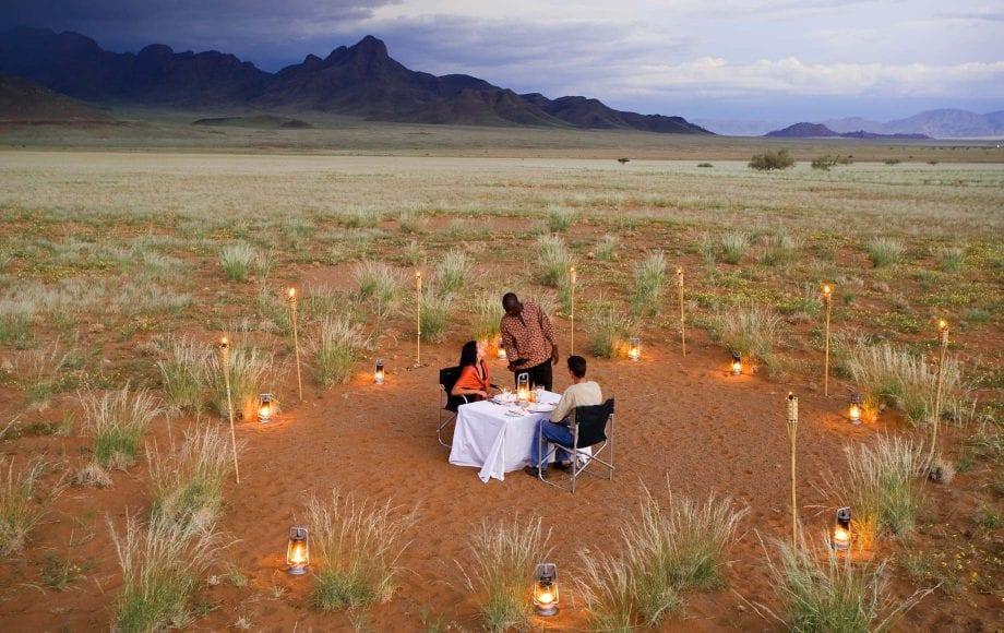 Romantic dinner in the middle of Sossusvlei Namib Desert