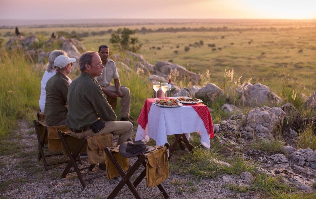 Family picnic dinner in nature at Tarangire African Safari