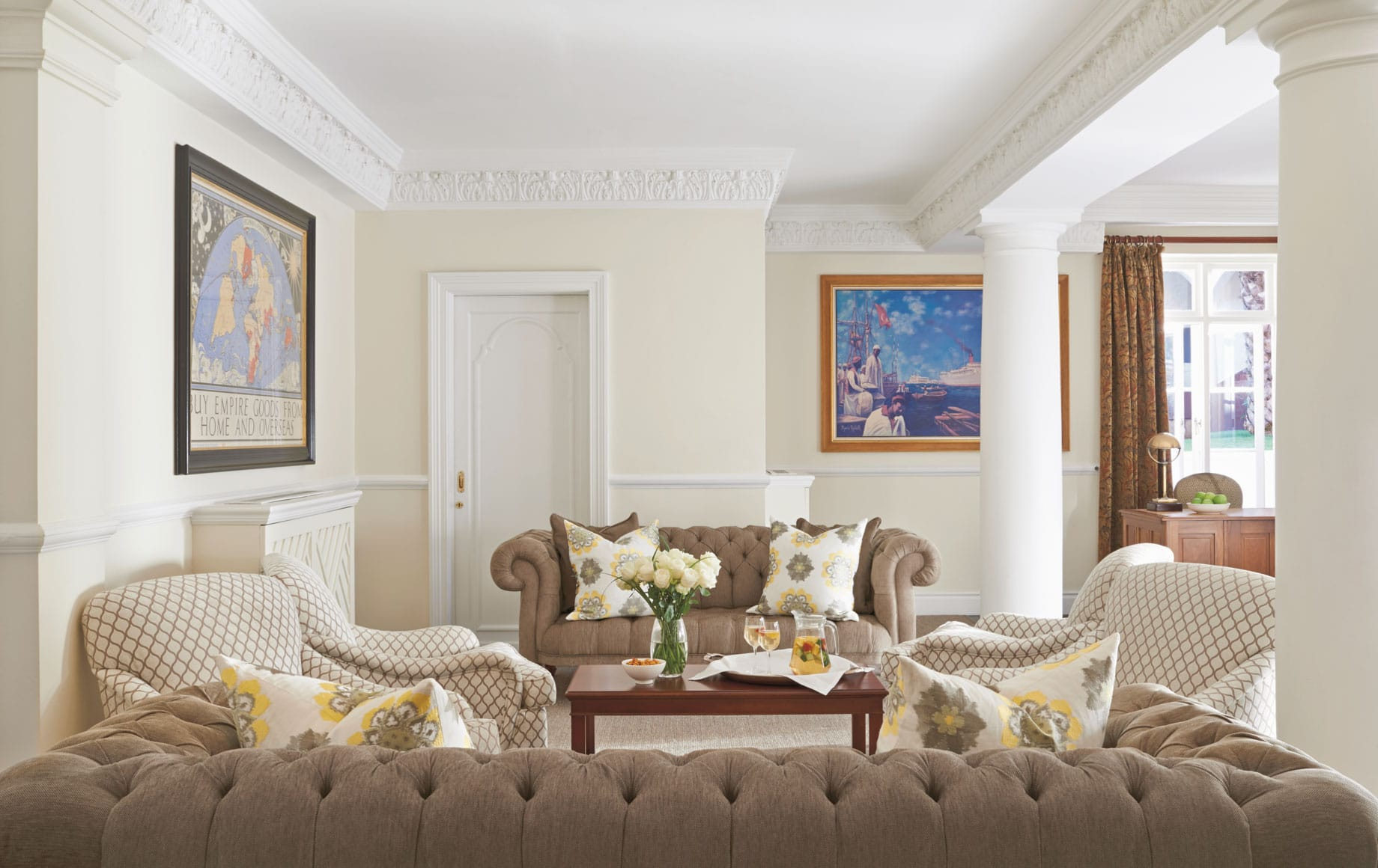 Luxurious Living Room of Belmond Mount Nelson Hotel in Africa