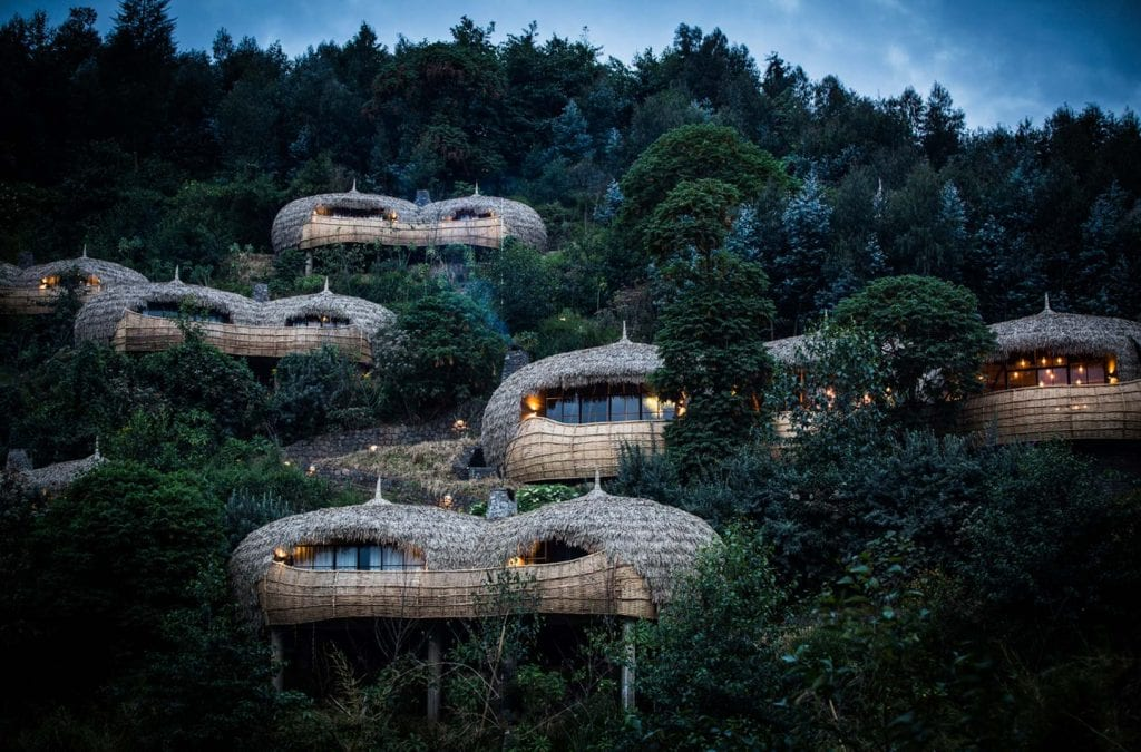 Hotel rooms among nature at Bisate Lodge in Africa