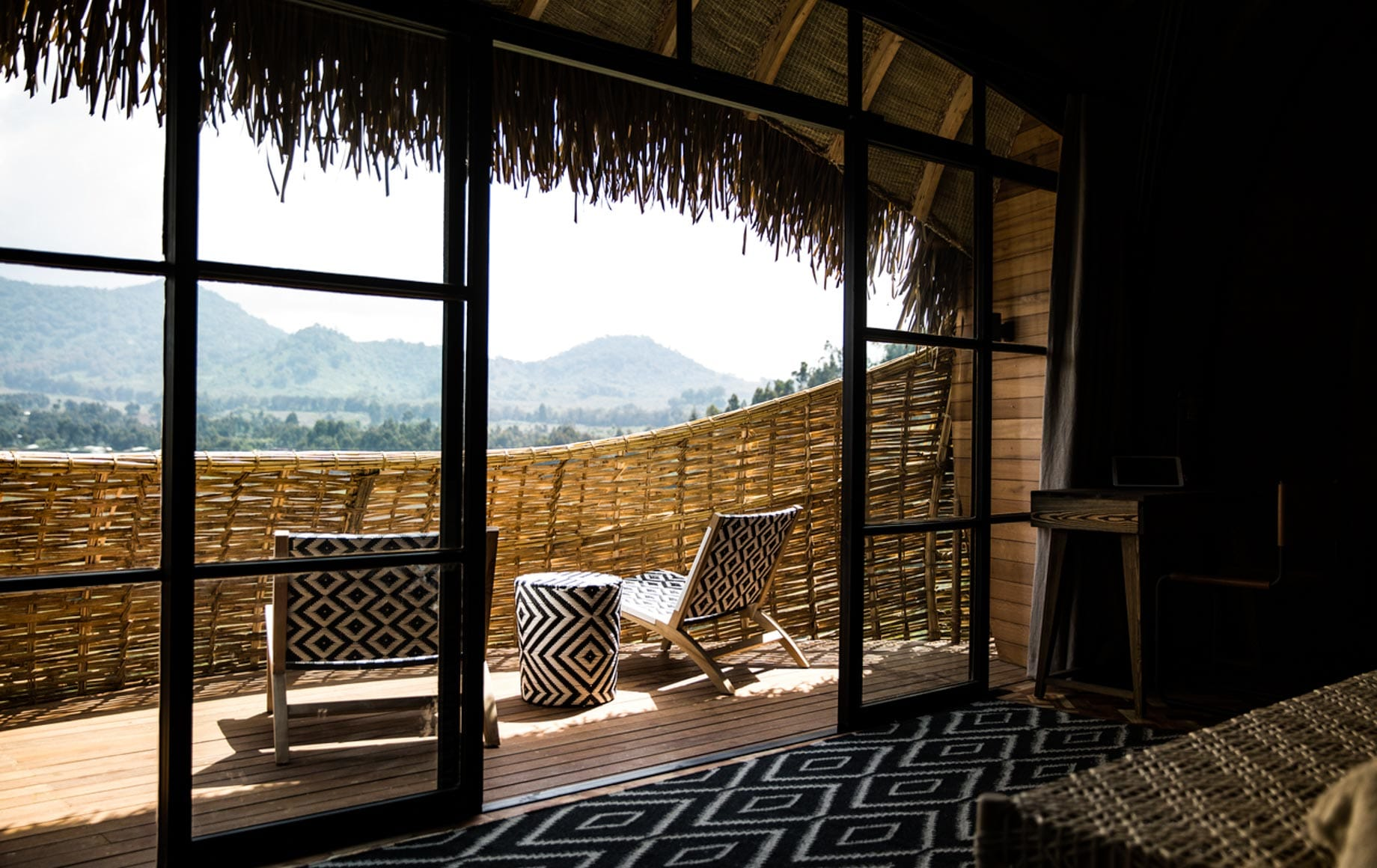 Natural Scenery outside the patio of Bisate Lodge in Africa