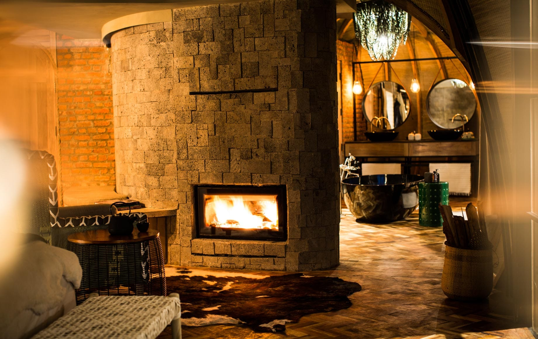 Warmth from Fireplace at Bisate Lodge in Africa