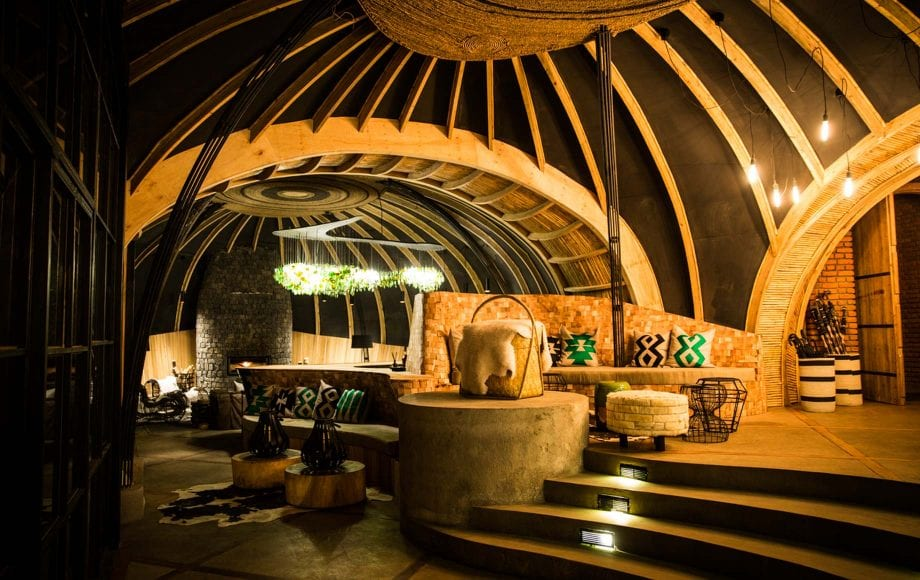 Lobby of Bisate Lodge in Africa