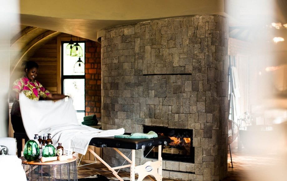 Warm and comforting massage service at Bisate Lodge in Africa