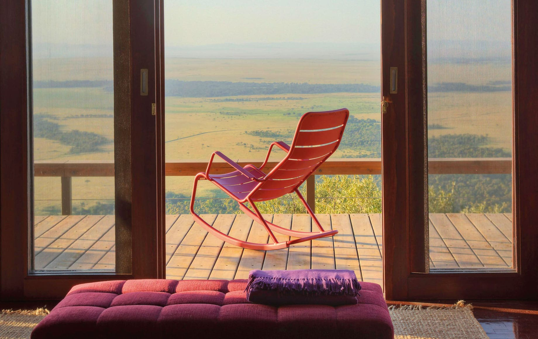 A chair on the deck at Angama Mara