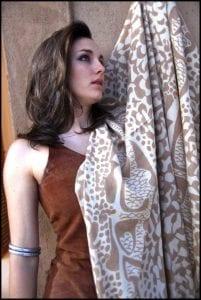 Lisa Christoffersen pashmina with giraffe pattern.