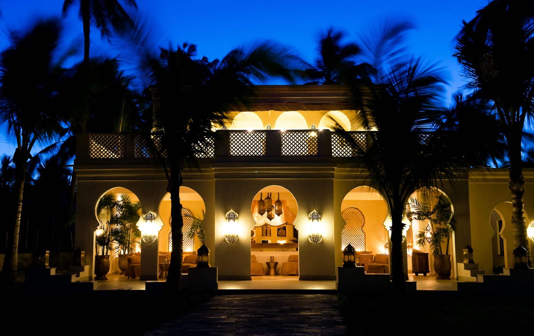 Exterior view of Baraza Resort & Spa at night