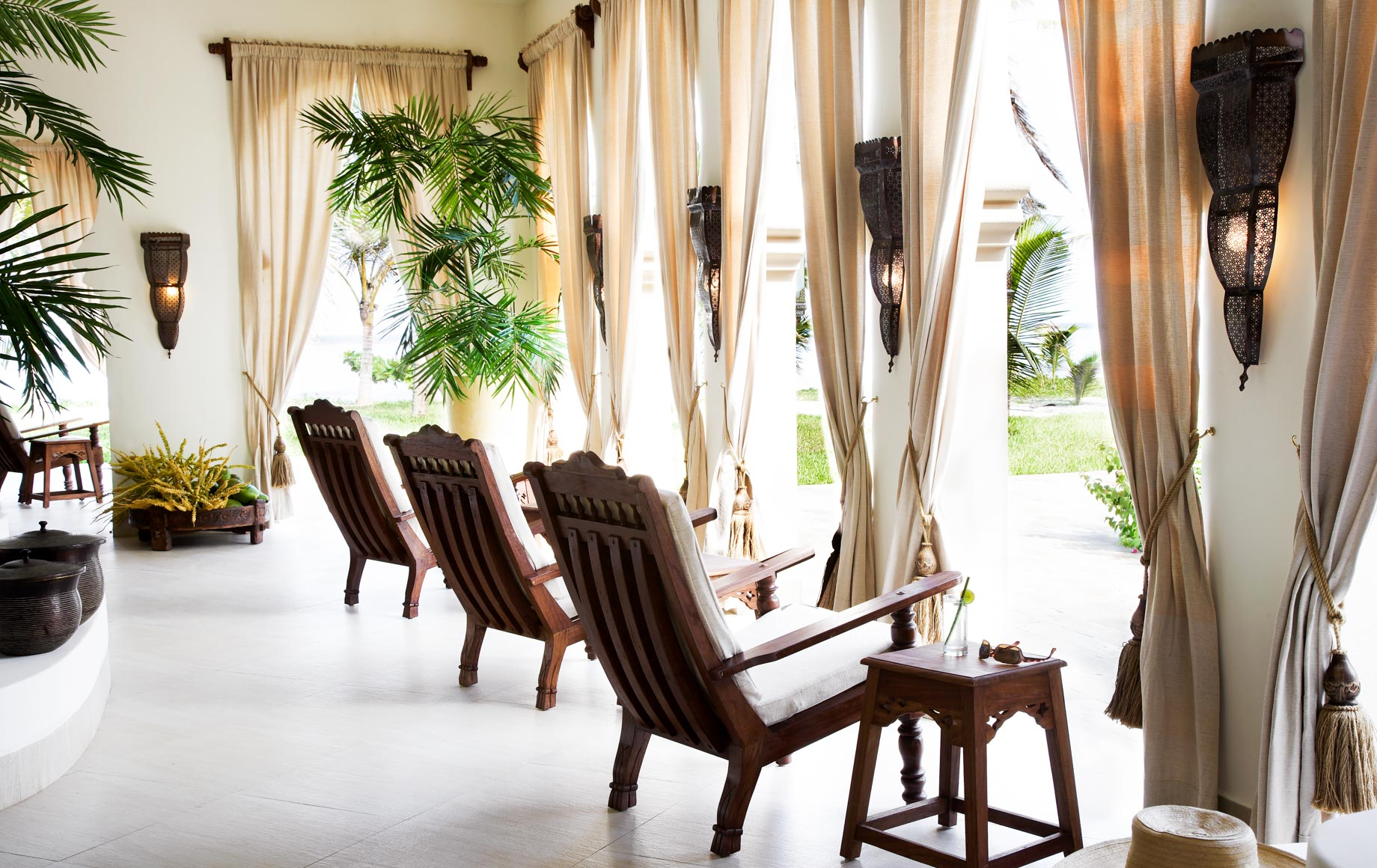 Lounge chairs on deck at Baraza Resort & Spa