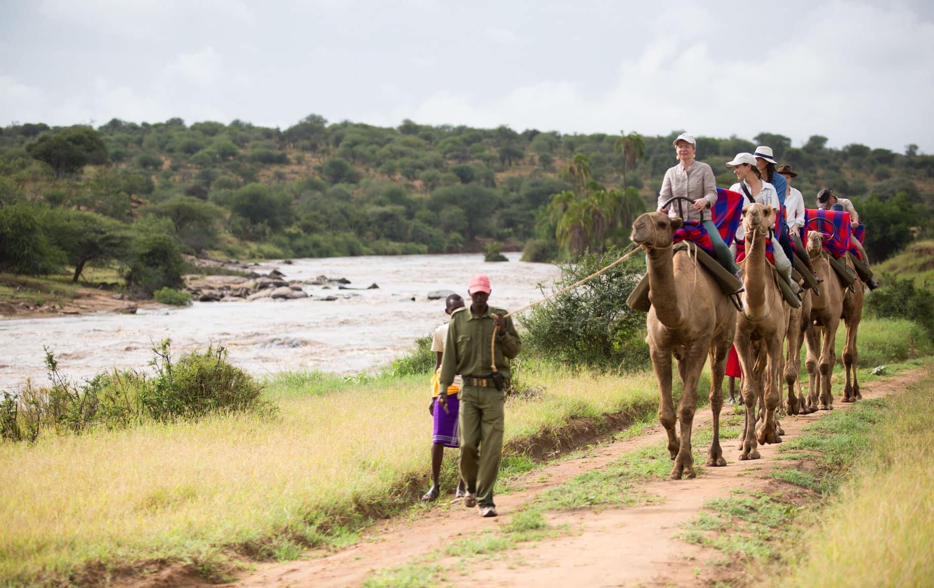 Guide leads horseback tour at Loisaba Conservancy