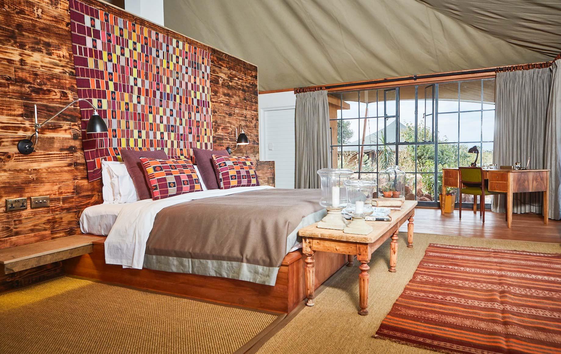 Interior of bedroom at Loisaba Lodo Springs