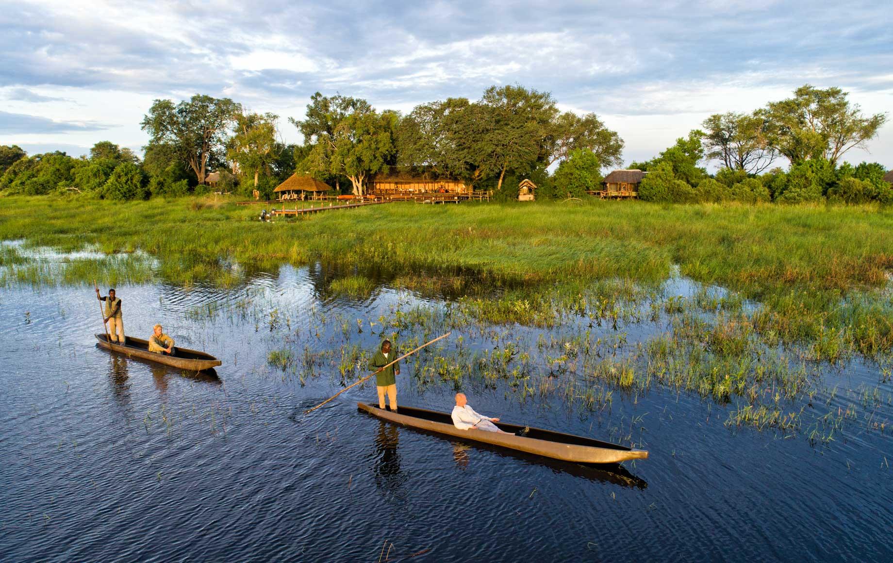 Canoes on water near Mapula Lodge