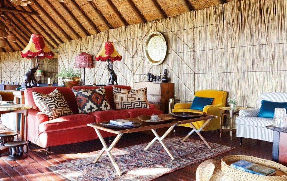 Interior sitting area at Mapula Lodge