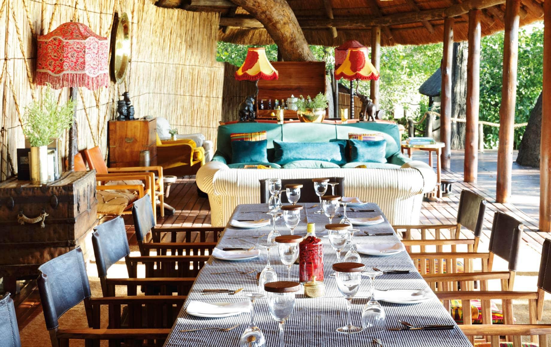 Interior dining area at Mapula Lodge
