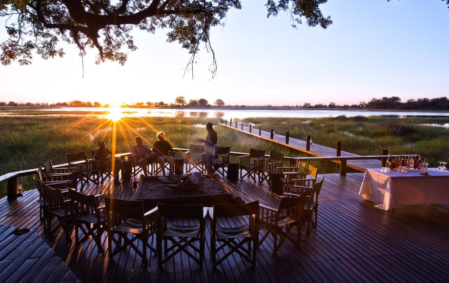 Outdoor sunset dinner at Mapula Lodge