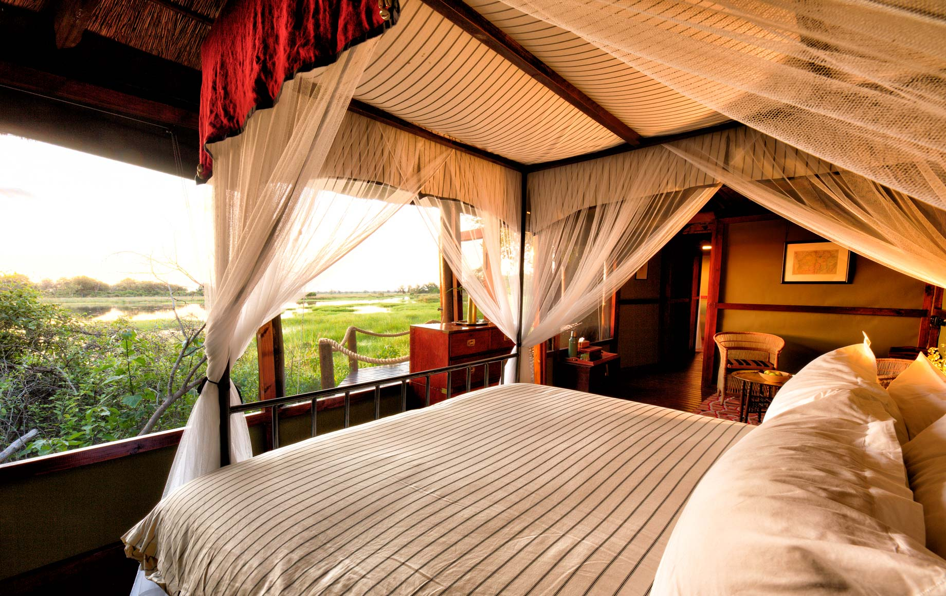 Interior of bedroom at Mapula Lodge