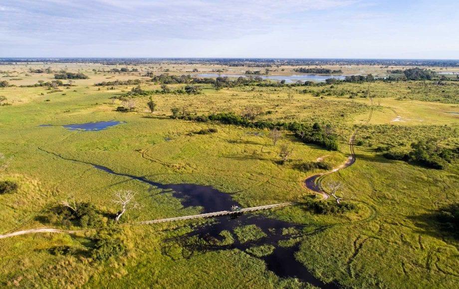 Aerial view of road near Mapula Lodge