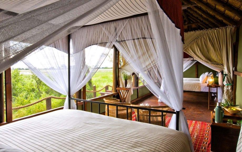 Interior of bedroom at Mapula Lodge