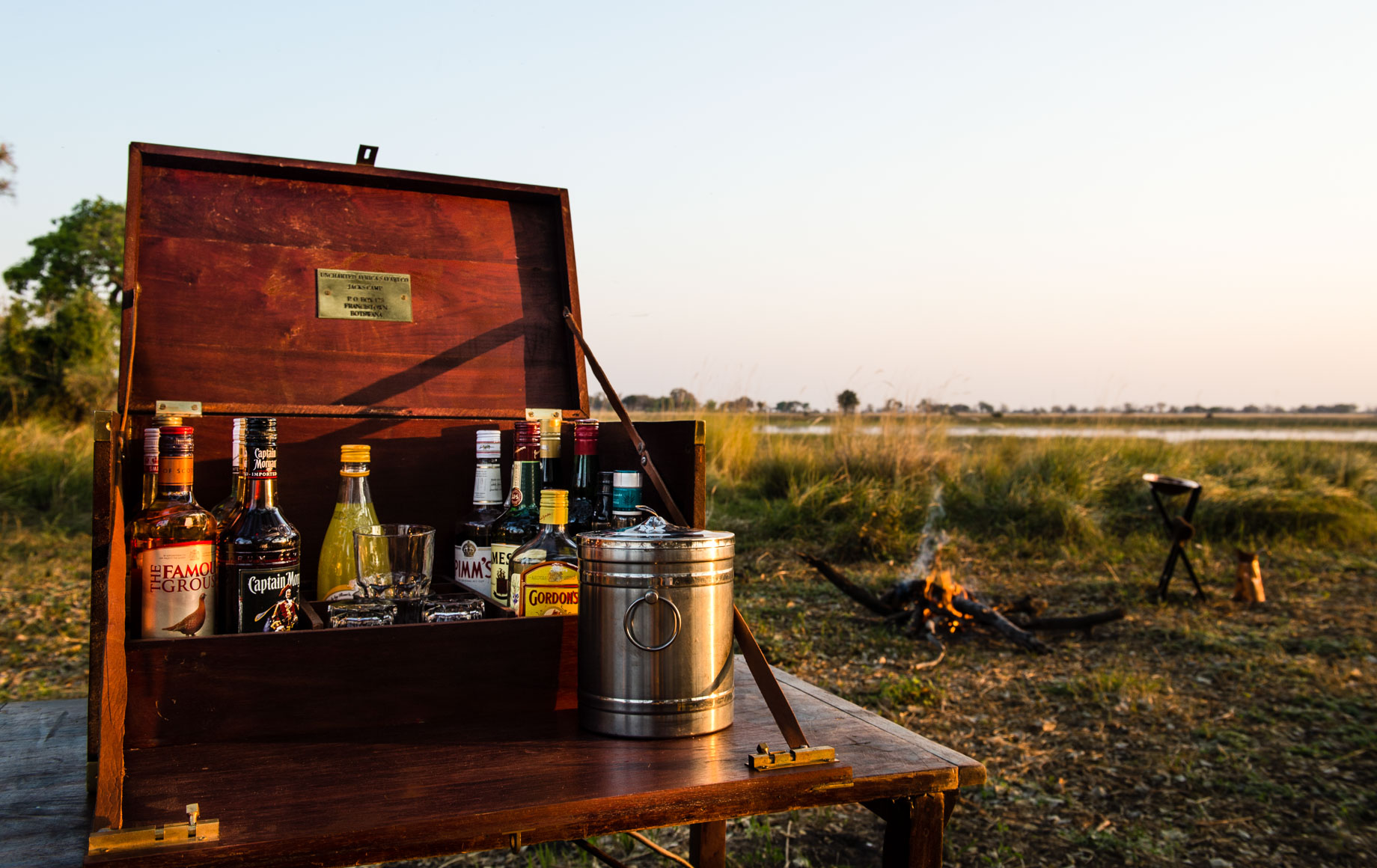 Table of liquors on plains of Africa