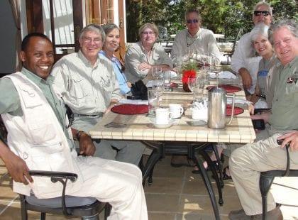 A group eating dinner