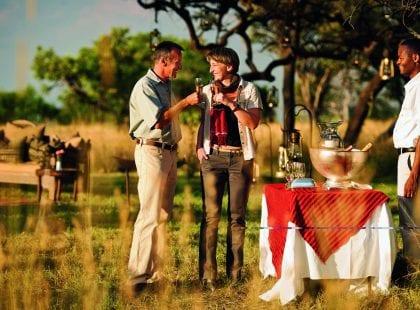 A couple enjoying wine