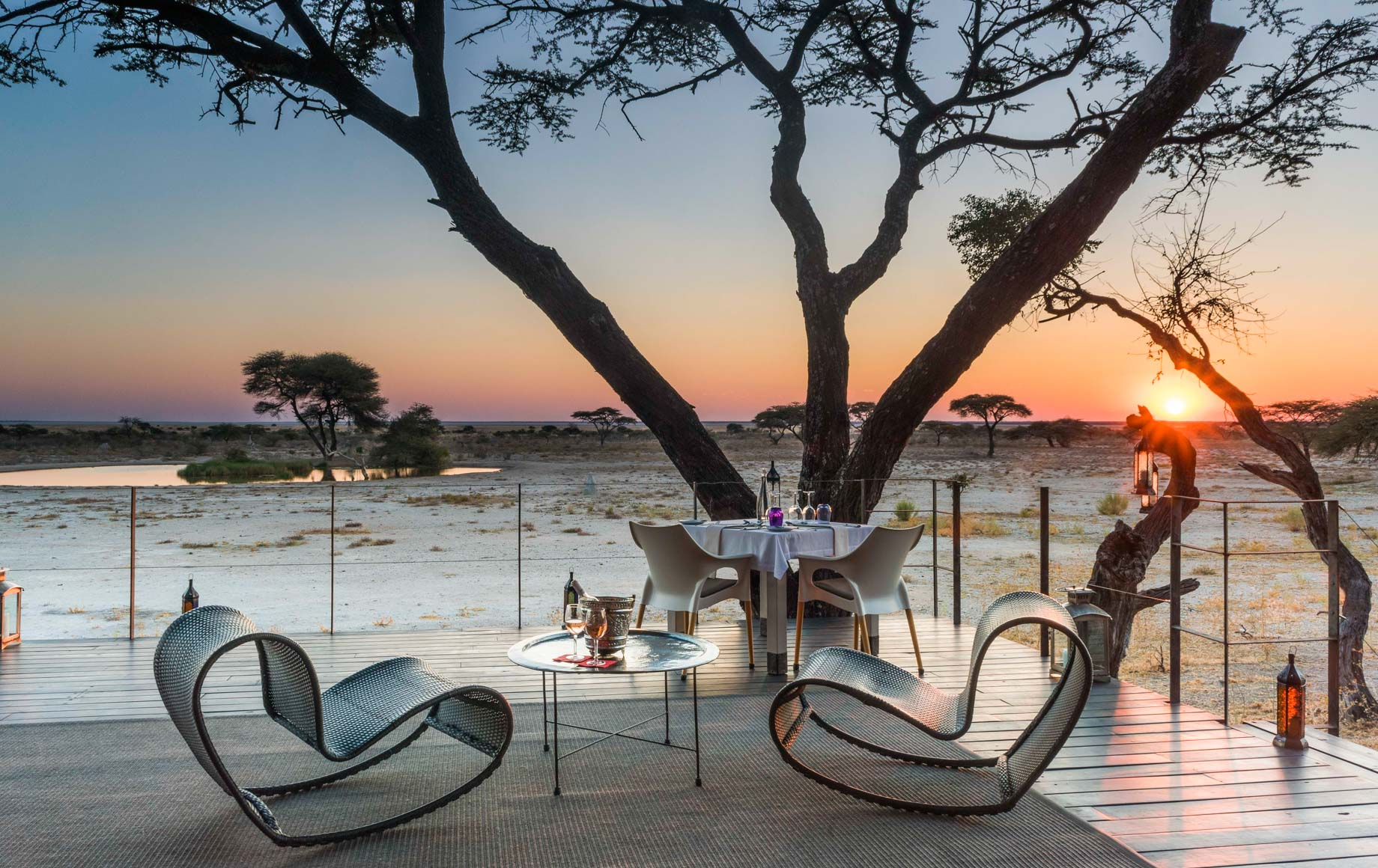 Chairs and table overlook Africa plains