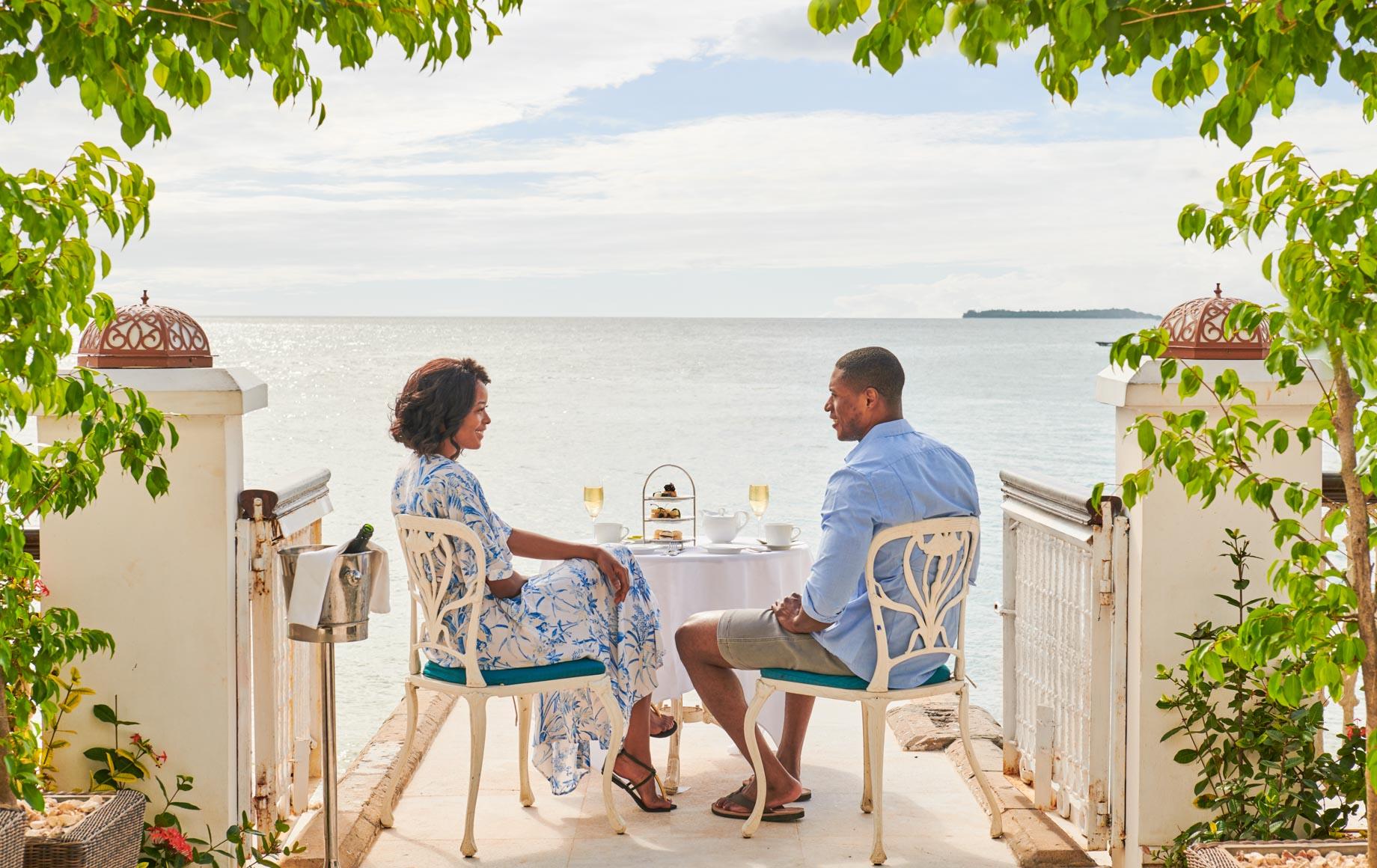 Couple shares tea at Park Hyatt, Zanzibar