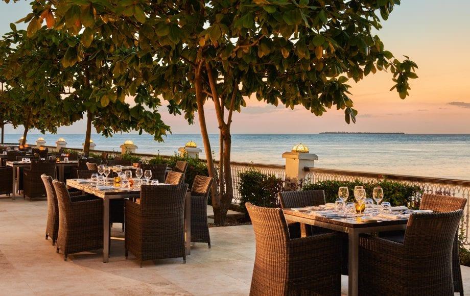 Outdoor deck dining area at Park Hyatt, Zanzibar