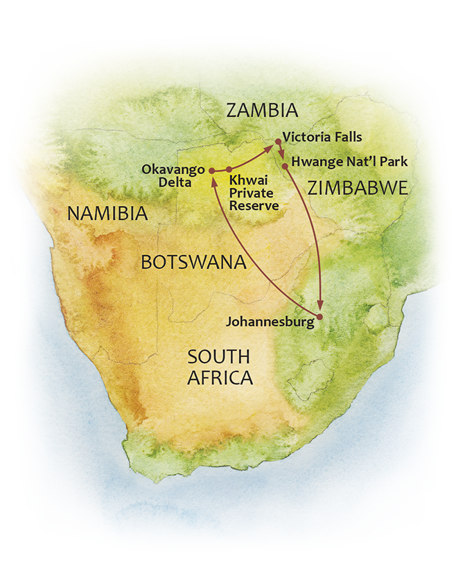 Passage Through Botswana and Zimbabwe map