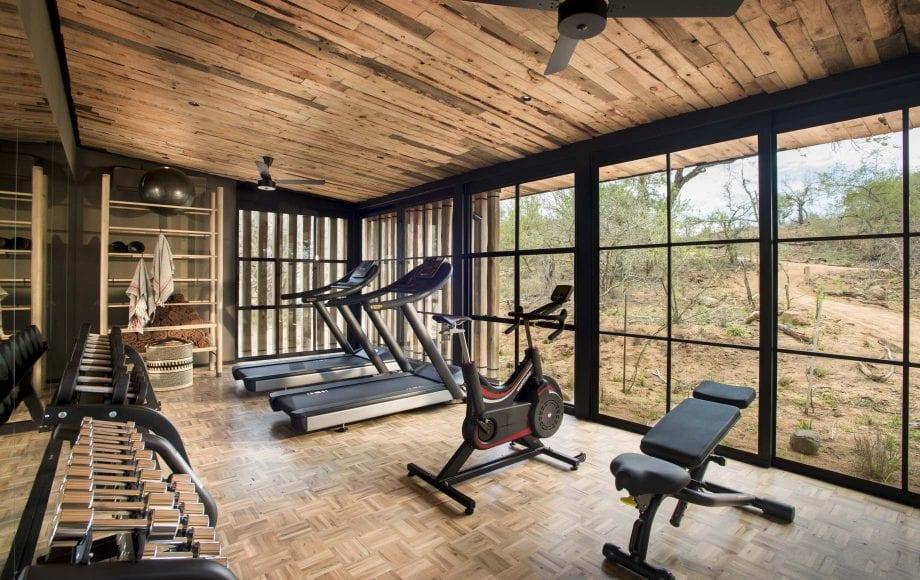 Interior fitness area of Tengile River Lodge