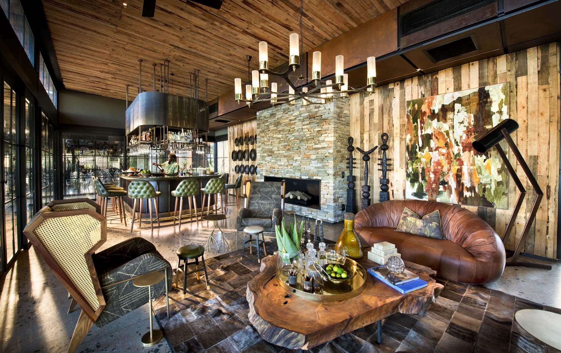 Interior seating area at Tengile River Lodge