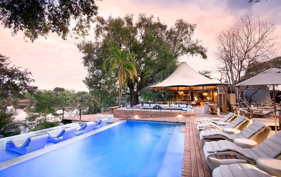 Pool deck area at Thorntree River Lodge